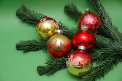 Christmas decorations. And fir tree stock image