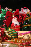 Christmas Decorations. With Ribbons and Gifts on Black Background Stock Image
