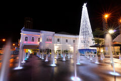 Christmas Decorations. Outdoor Christmas decorations with lights and water fountain at night Royalty Free Stock Photography