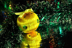Christmas decorations. Beautiful christmas decorations with reflection Stock Photo