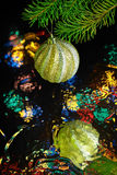 Christmas decorations. Beautiful christmas decorations with blurred reflection Stock Photo