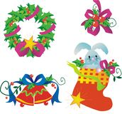Christmas decorations. Set isolated on white vector illustration