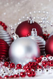 Christmas decorations. Red and silver Christmas balls stock image