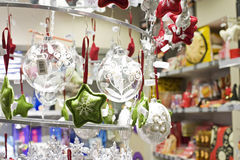 Christmas decorations. Closeup of  christmas decorations in a shop Royalty Free Stock Photography