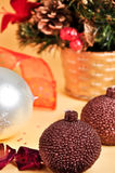 Christmas decorations. With candles and globes Royalty Free Stock Photos