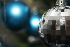 Christmas Decorations. Close up image of blue and gray Christmas Decorations Royalty Free Stock Image