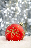 Christmas decorations. Set against a sparkling background Royalty Free Stock Image