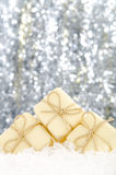 Christmas decorations. Set against a sparkling background Royalty Free Stock Photography