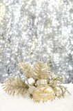 Christmas decorations. Set against a sparkling background with copy space Stock Photo