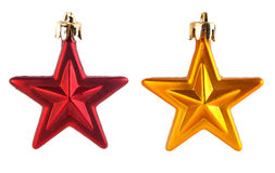 Christmas decorations. Two christmas decorations on white background stock photo