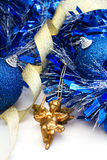 Christmas decorations. With gold angel and blue baubles Stock Image