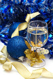 Christmas decorations. With candle and blue baubles Royalty Free Stock Photography