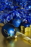 Christmas decorations. With blue balls and candle Stock Images