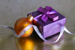 Christmas decorations. Ball and gift Royalty Free Stock Images