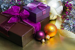 Christmas decorations. Balls and gifts Royalty Free Stock Photos