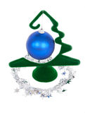 Christmas decorations. Blue Christamas ball hanging on green New Year fir Stock Photography