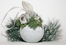 Christmas decorations. Toys design spheres new year holiday gifts Figures Royalty Free Stock Image