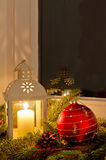 Christmas decorations. Window sill with christmas decoration Royalty Free Stock Photography