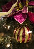 Christmas decorations. Christmas tree decorations : poinsettia (christmas star) and red and golden ball Stock Photo