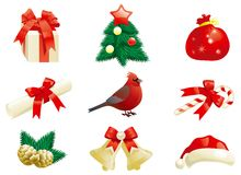 Christmas decorations. Vector Set of some christmas decorations for holidays icons Stock Photos