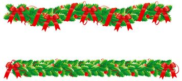 Christmas decorations. Two isolsted holly garlands for christmas Royalty Free Stock Photos