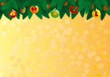 Christmas decorations. Vector  Card of christmas fir tree with baubles and cone on abstract background Stock Photos
