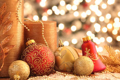 Christmas decorations. Decorations with Christmas ornaments with lights Royalty Free Stock Image