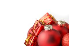Christmas decorations. Close up of Christmas decorations over white Royalty Free Stock Photography