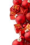 Christmas decorations. Close up of Christmas decorations over white Stock Photography