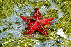 Christmas decorations. Christmas decoration, red, silver and gold Stock Images