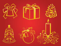 Christmas decorations. A set of silhouettes of gold Christmas decorations Royalty Free Stock Photography