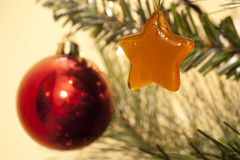 Christmas decorations. On a Christmas tree Royalty Free Stock Photos