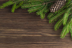 Christmas decorations. On wooden background Royalty Free Stock Photography