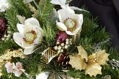 Christmas decorations. Silk flower christmas decoration Royalty Free Stock Images