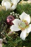 Christmas decorations. Silk flower christmas decoration Stock Image