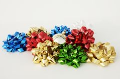 Christmas decorations. Colored ribbons and bows Royalty Free Stock Image
