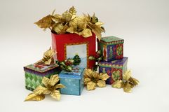 Christmas decorations. Gift boxes Stock Image