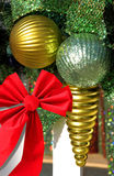Christmas decorations. And red ribbon Royalty Free Stock Image