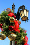 Christmas decorations. On lighting pole Royalty Free Stock Images