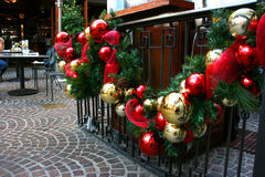 Christmas decorations. On the fence Royalty Free Stock Photography