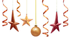 Christmas decorations. Hanging christmas decorations isolated on white Stock Photo