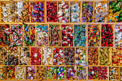 Christmas decorations. Assortment of christmas decorations on the market Stock Photography