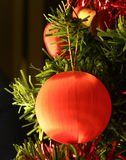 Christmas decorations. Shiny red Christmas decoration on a Christmas tree Stock Photography