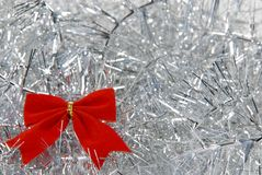 Christmas decorations. A red band  with silver background Stock Images