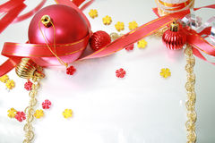Christmas Decorations. Frame from christmas ornaments. Isolation on White Royalty Free Stock Image