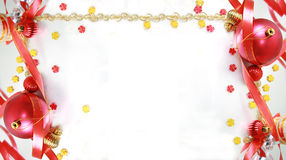 Christmas Decorations. Frame from christmas ornaments. Isolation on White Royalty Free Stock Photo
