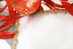 Christmas Decorations. Frame from christmas ornaments. Isolation on White Stock Photos