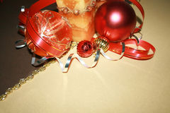 Christmas Decorations. Frame from christmas ornaments. Isolation on Gold and brown Royalty Free Stock Photo