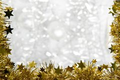 Christmas decorations. A christmas decoration with silver background Royalty Free Stock Image