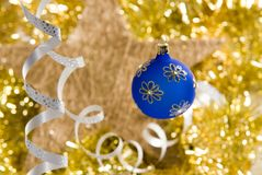 Christmas decorations. A christmas decoration with glass trinket Stock Photos